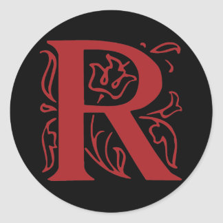 Fancy Letter R Classic Round Sticker