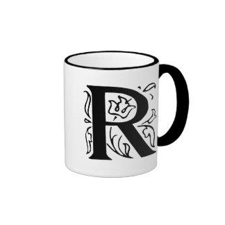 Fancy Letter R Ringer Coffee Mug