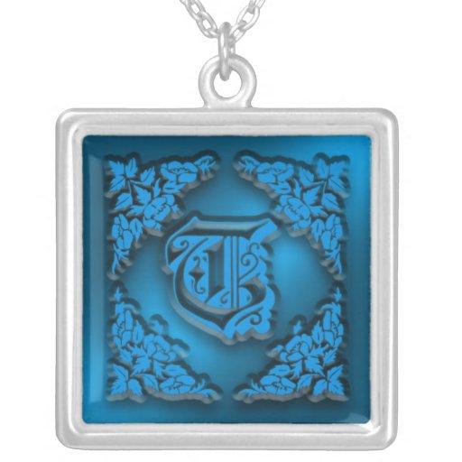 Fancy Letter T Blue Initial Necklace