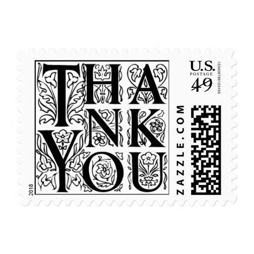 Fancy Letter Thank You Postage Stamps