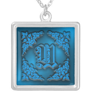 Fancy Letter U Blue Initial Necklace