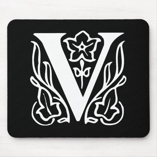 Fancy Letter V Mouse Pad
