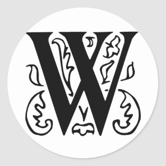 Fancy Letter W Classic Round Sticker