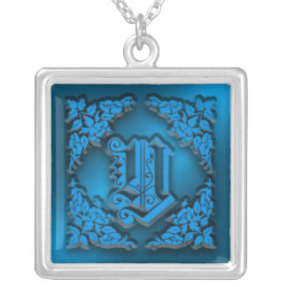 Fancy Letter Y Blue Initial Necklace