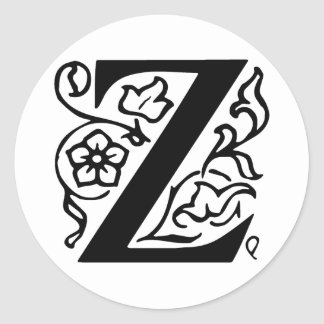 Fancy Letter Z Classic Round Sticker