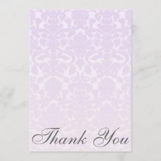 Fancy Light Purple Damask Thank You Card / Note