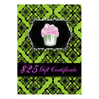 Fancy Lime Green Cupcake Bakery Gift Certificates Large Business Cards (Pack Of 100)