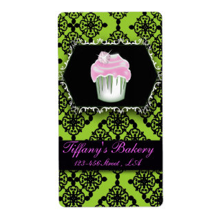 Fancy Lime Green Cupcake Bakery Labels