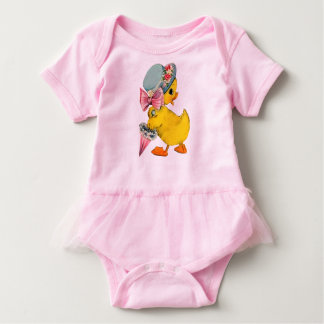 Fancy Little Vintage Easter Chick w/Hat & Umbrella Baby Bodysuit