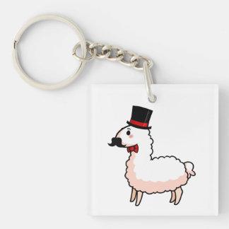 Fancy Llama Double-Sided Square Acrylic Keychain