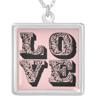 Fancy LOVE Square Custom Necklace