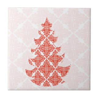 Fancy Luxury Christmas Classic Tree Damask pattern Ceramic Tile