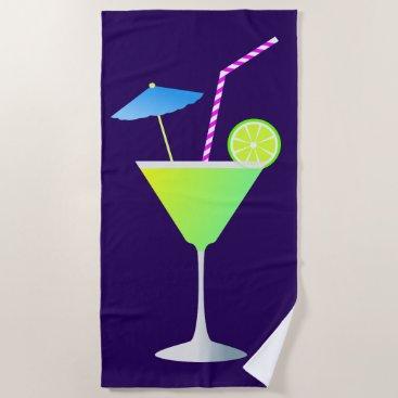 Beach Themed Fancy Margarita Cocktail Night Life Beach Towel