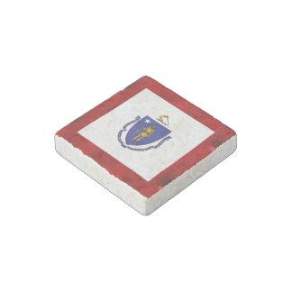 Fancy Massachusetts Flag on red velvet background Stone Magnet