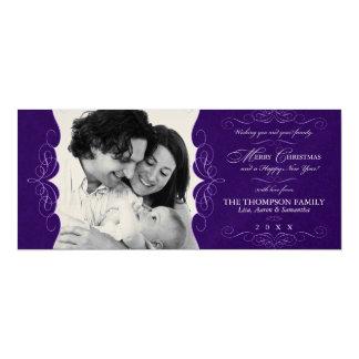 "Fancy Metallic Aubergine Purple Christmas Photo 4"" X 9.25"" Invitation Card"