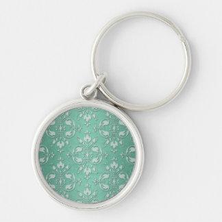 Fancy Mint Green Damask Pattern Keychain