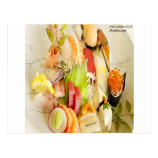 Fancy Mixed Fish Gourmet Sushi Plate Postcard