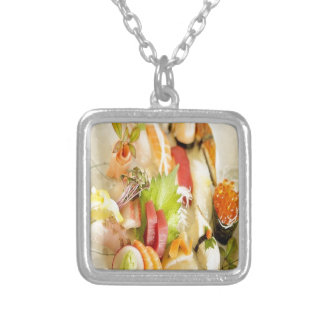 Fancy Mixed Fish Gourmet Sushi Plate Silver Plated Necklace