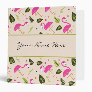 Fancy Modern Hot Pink Flamingos Wedding Theme Binder