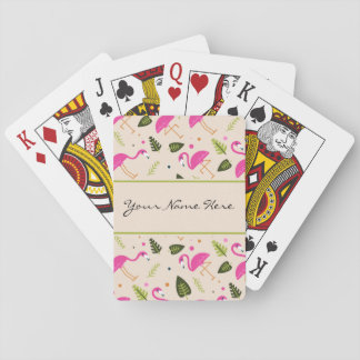 Fancy Modern Hot Pink Flamingos Wedding Theme Playing Cards