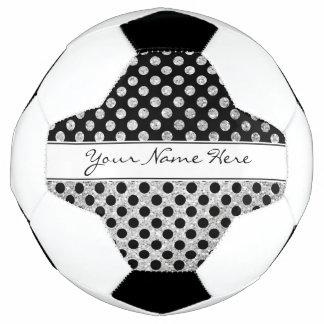 Fancy Modern Silver Glitter & Black Polka Dots Soccer Ball
