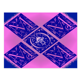Fancy Mom Text in Blue and Purple Post Card