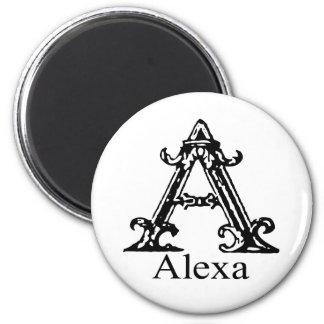 Fancy Monogram: Alexa 2 Inch Round Magnet