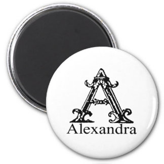 Fancy Monogram: Alexandra 2 Inch Round Magnet