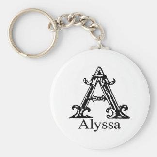 Fancy Monogram: Alyssa Basic Round Button Keychain