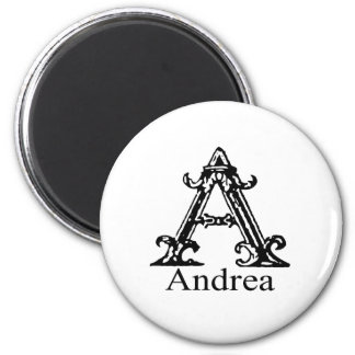 Fancy Monogram: Andrea 2 Inch Round Magnet