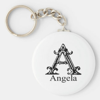 Fancy Monogram: Angela Basic Round Button Keychain