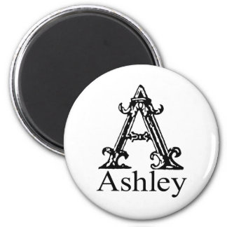 Fancy Monogram: Ashley 2 Inch Round Magnet