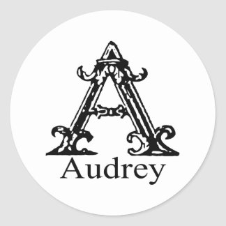 Fancy Monogram: Audrey Classic Round Sticker