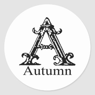 Fancy Monogram: Autumn Classic Round Sticker
