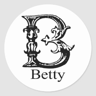 Fancy Monogram: Betty Classic Round Sticker