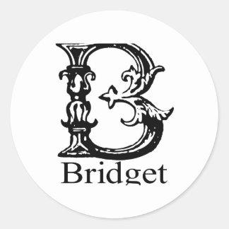 Fancy Monogram: Bridget Round Sticker