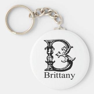 Fancy Monogram: Brittany Basic Round Button Keychain