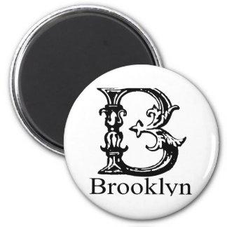 Fancy Monogram: Brooklyn 2 Inch Round Magnet