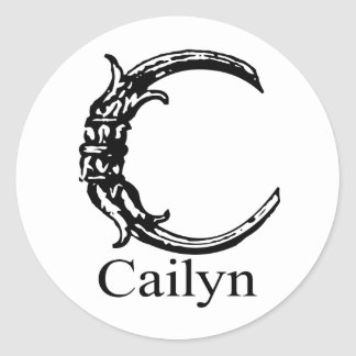 Fancy Monogram: Cailyn Classic Round Sticker