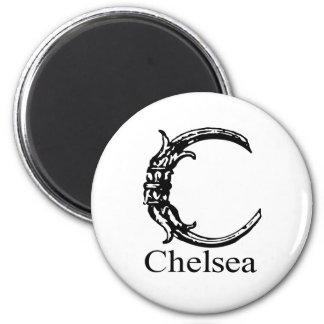 Fancy Monogram: Chelsea 2 Inch Round Magnet
