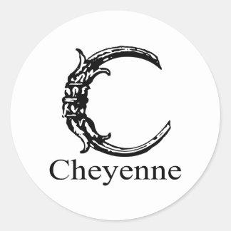 Fancy Monogram: Cheyenne Classic Round Sticker