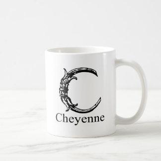 Fancy Monogram Cheyenne Coffee Mugs