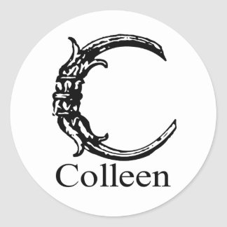 Fancy Monogram: Colleen Classic Round Sticker