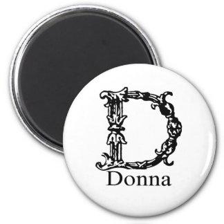 Fancy Monogram: Donna 2 Inch Round Magnet