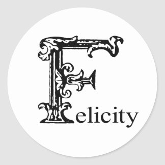 Fancy Monogram: Felicity Classic Round Sticker