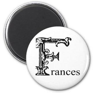 Fancy Monogram: Frances 2 Inch Round Magnet