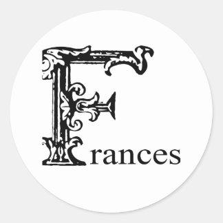 Fancy Monogram: Frances Classic Round Sticker