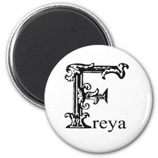 Fancy Monogram: Freya 2 Inch Round Magnet