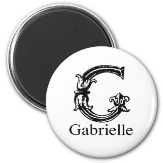Fancy Monogram: Gabrielle 2 Inch Round Magnet