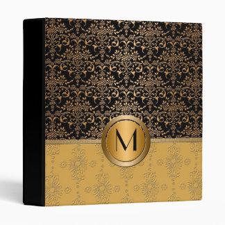 Fancy Monogram Gold and Black Damask Design 3 Ring Binder